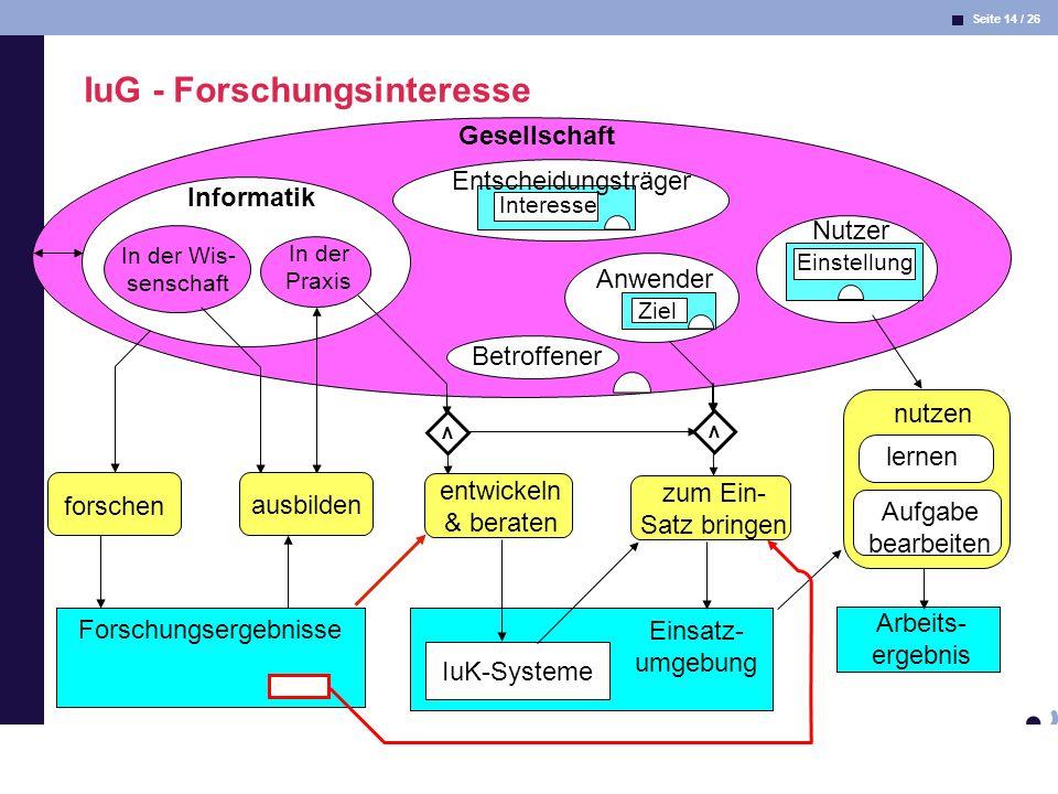 Seite 14 / 26 Informatik & Gesellschaft Dr. Andrea Kienle: Vorlesung Informatik & Gesellschaft 2005, UniDO 11.04.2005 Gesellschaft Betroffener Informa