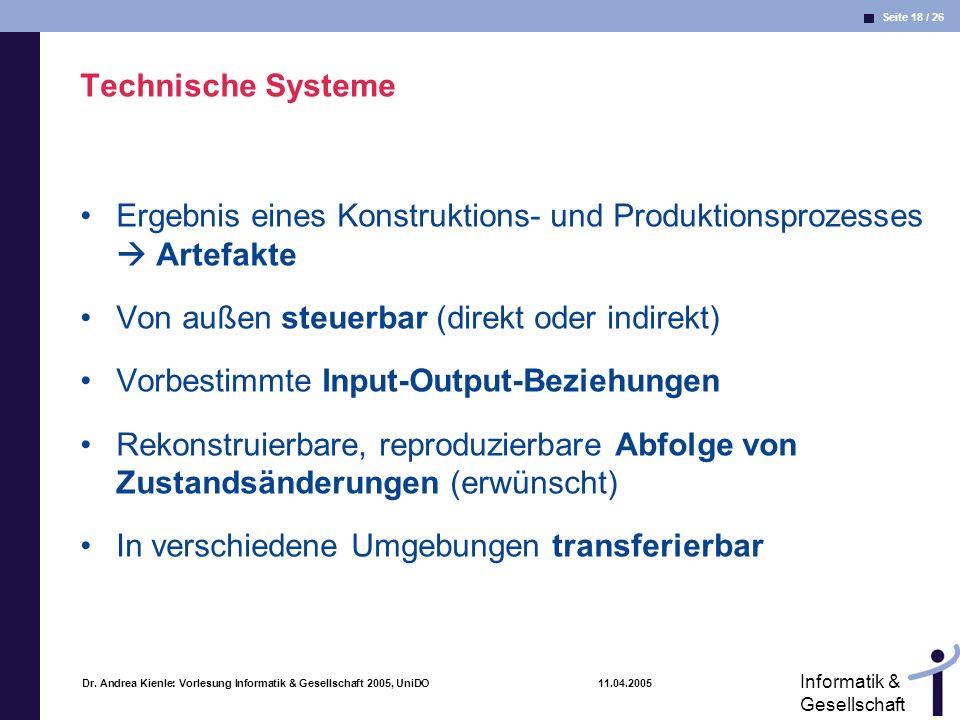 Seite 18 / 26 Informatik & Gesellschaft Dr. Andrea Kienle: Vorlesung Informatik & Gesellschaft 2005, UniDO 11.04.2005 Technische Systeme Ergebnis eine