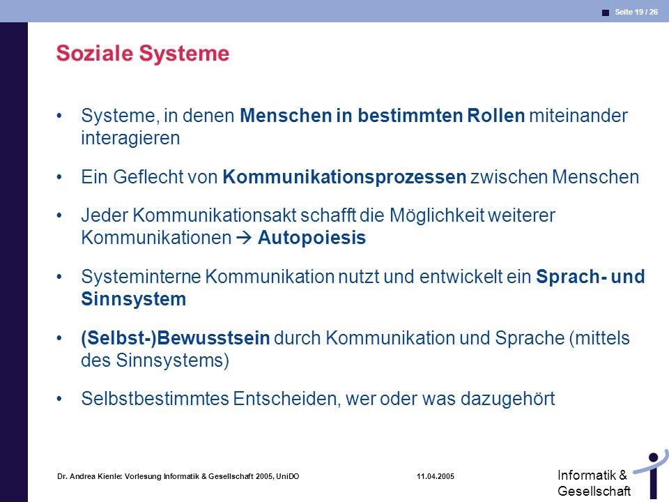 Seite 19 / 26 Informatik & Gesellschaft Dr. Andrea Kienle: Vorlesung Informatik & Gesellschaft 2005, UniDO 11.04.2005 Soziale Systeme Systeme, in dene