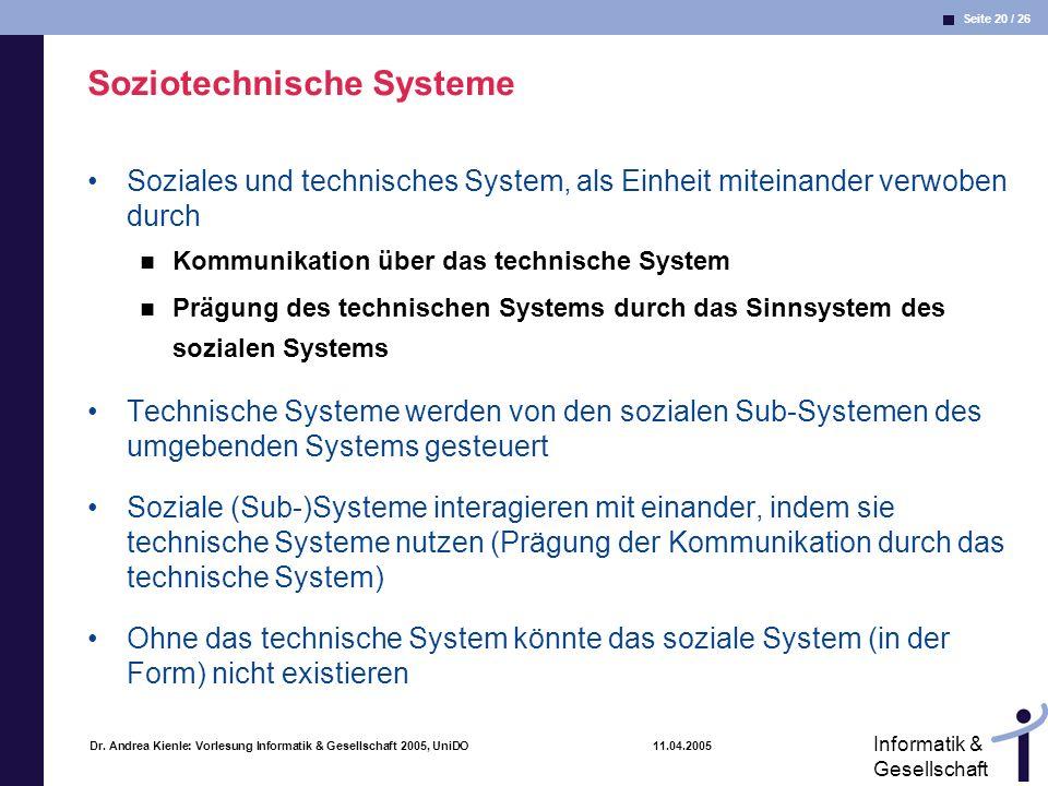 Seite 20 / 26 Informatik & Gesellschaft Dr. Andrea Kienle: Vorlesung Informatik & Gesellschaft 2005, UniDO 11.04.2005 Soziotechnische Systeme Soziales