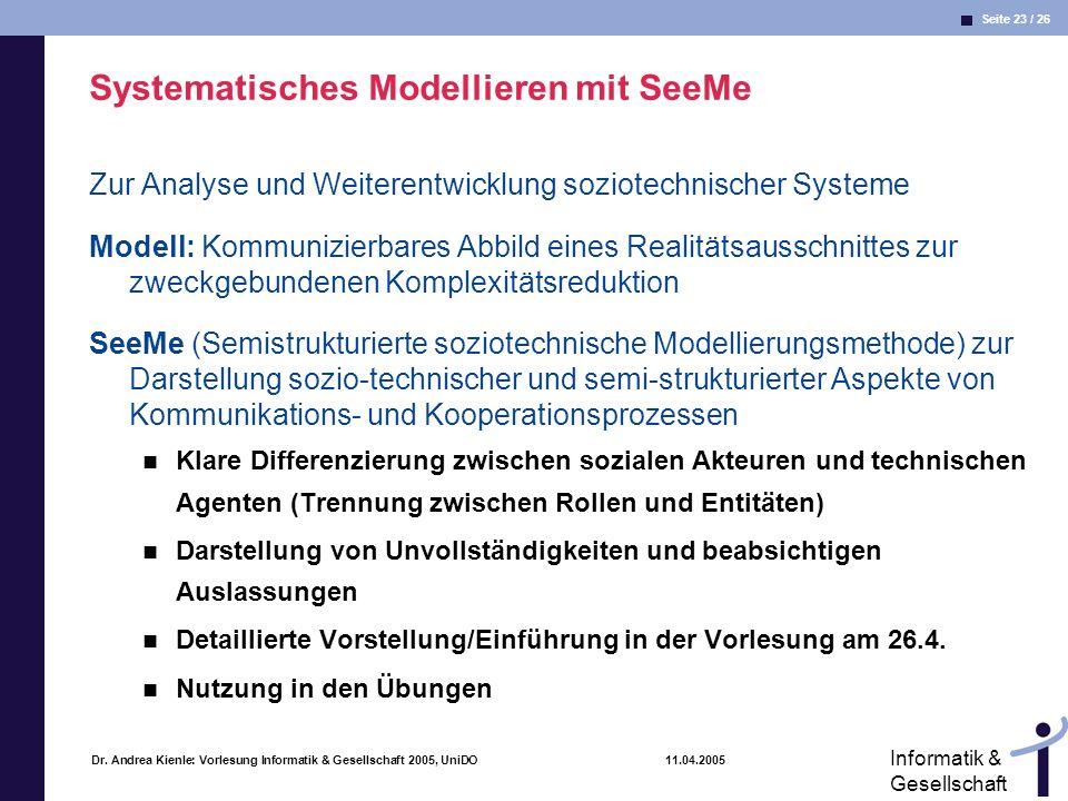 Seite 23 / 26 Informatik & Gesellschaft Dr. Andrea Kienle: Vorlesung Informatik & Gesellschaft 2005, UniDO 11.04.2005 Systematisches Modellieren mit S