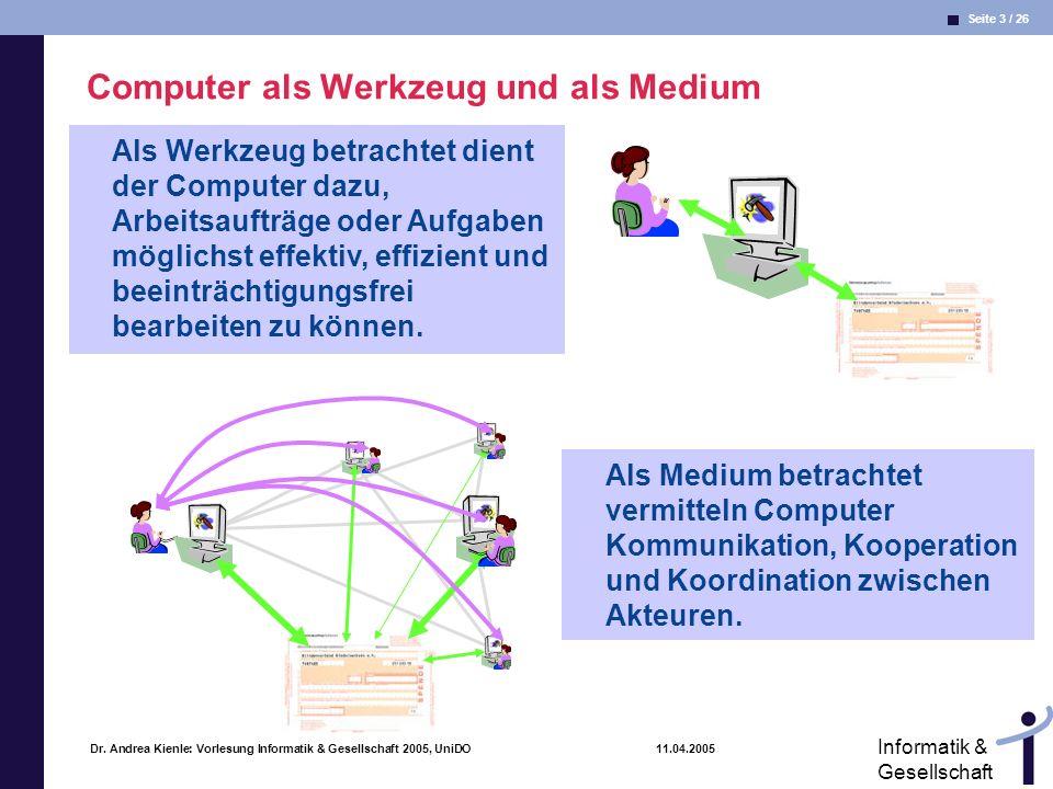 Seite 3 / 26 Informatik & Gesellschaft Dr. Andrea Kienle: Vorlesung Informatik & Gesellschaft 2005, UniDO 11.04.2005 Computer als Werkzeug und als Med