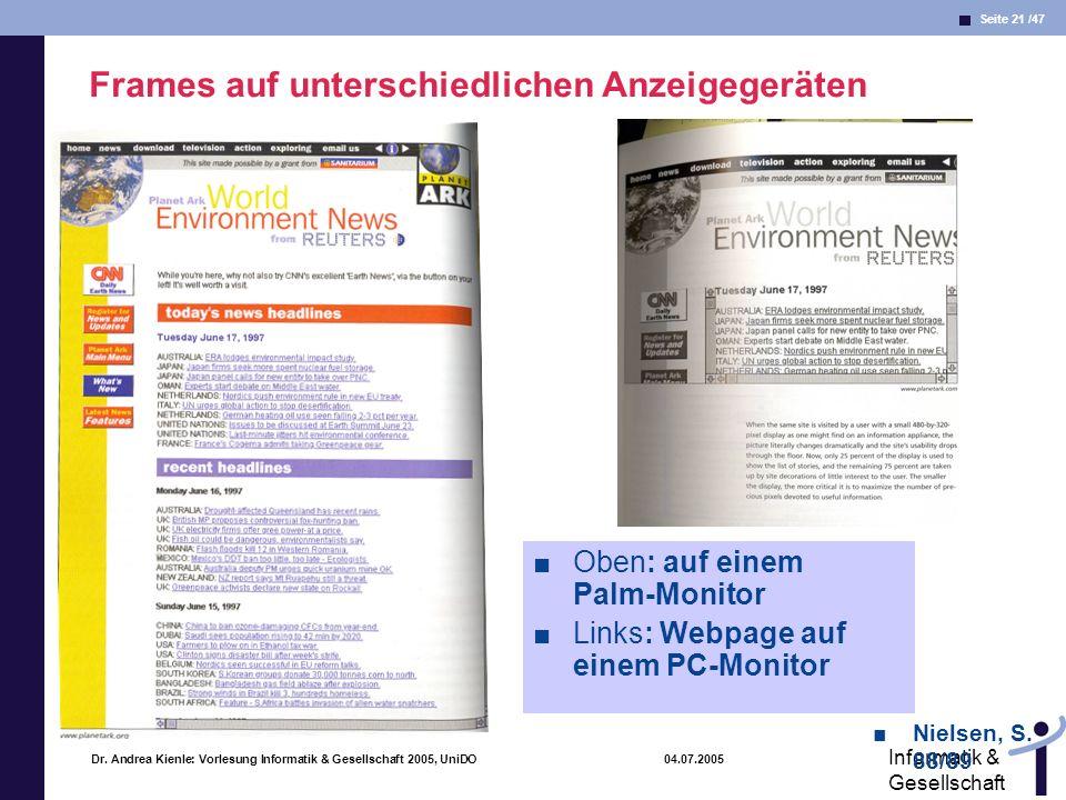 Seite 21 /47 Informatik & Gesellschaft Dr. Andrea Kienle: Vorlesung Informatik & Gesellschaft 2005, UniDO 04.07.2005 Frames auf unterschiedlichen Anze