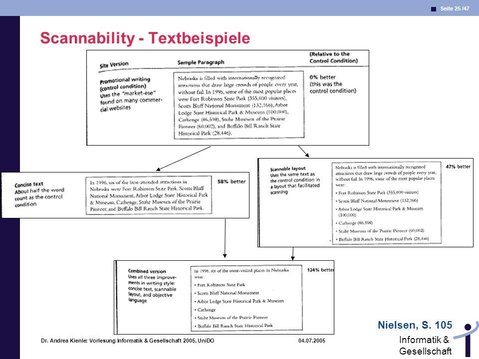 Seite 25 /47 Informatik & Gesellschaft Dr. Andrea Kienle: Vorlesung Informatik & Gesellschaft 2005, UniDO 04.07.2005 Scannability - Textbeispiele Niel