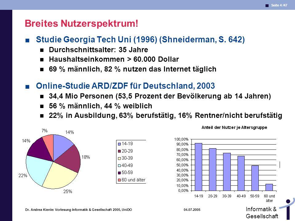 Seite 4 /47 Informatik & Gesellschaft Dr. Andrea Kienle: Vorlesung Informatik & Gesellschaft 2005, UniDO 04.07.2005 Breites Nutzerspektrum! Studie Geo