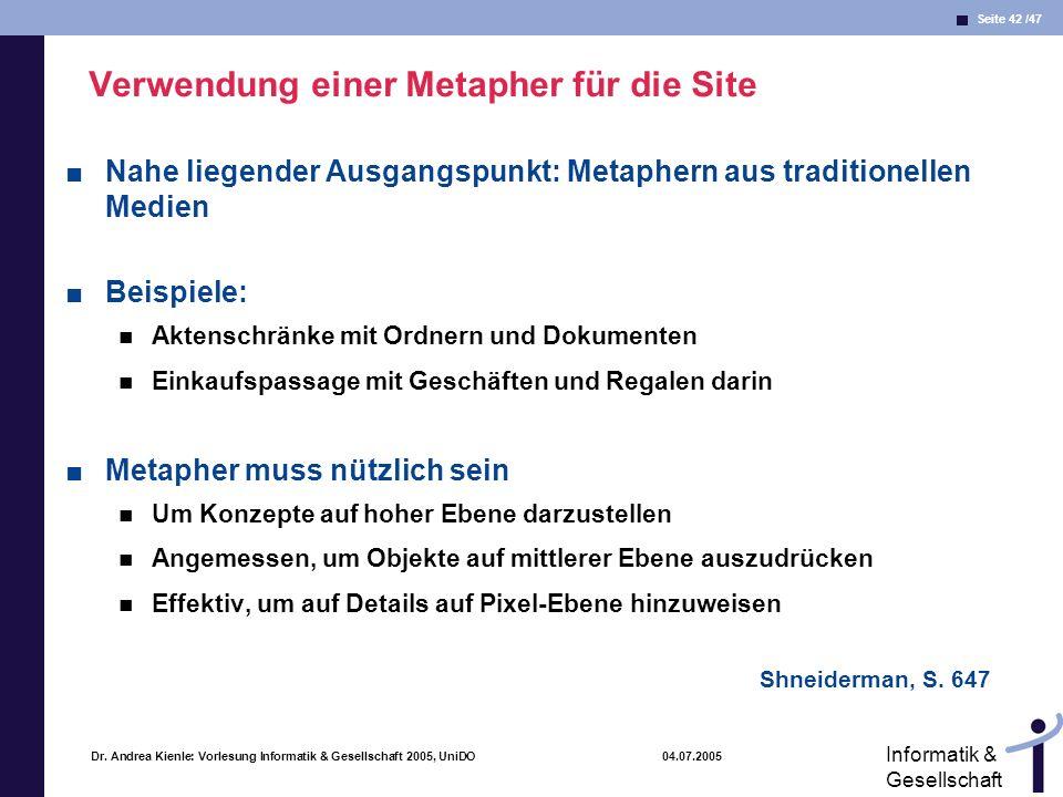 Seite 42 /47 Informatik & Gesellschaft Dr. Andrea Kienle: Vorlesung Informatik & Gesellschaft 2005, UniDO 04.07.2005 Verwendung einer Metapher für die