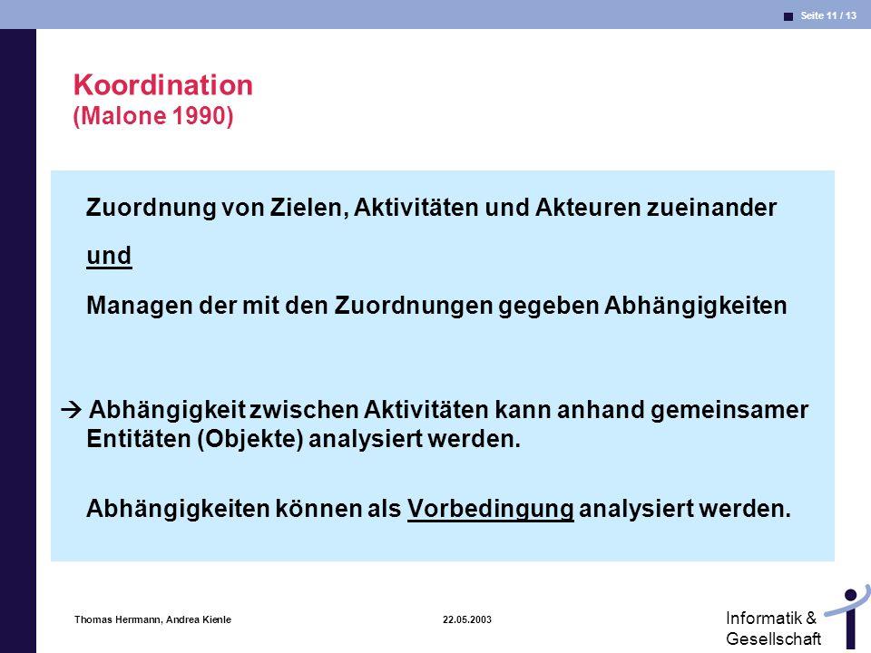 Seite 11 / 13 Informatik & Gesellschaft Thomas Herrmann, Andrea Kienle 22.05.2003 Koordination (Malone 1990) Zuordnung von Zielen, Aktivitäten und Akt