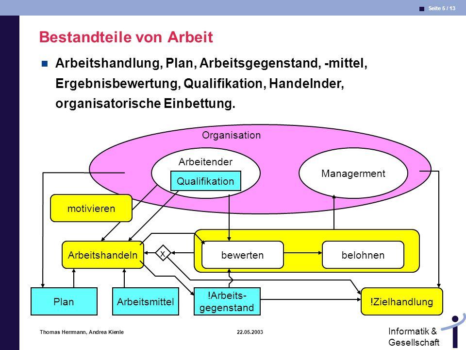 Seite 6 / 13 Informatik & Gesellschaft Thomas Herrmann, Andrea Kienle 22.05.2003 Interaktion Interaktion:= äussere Handlungen verschiedener Akteure (A,B,...) wechseln sich ab.