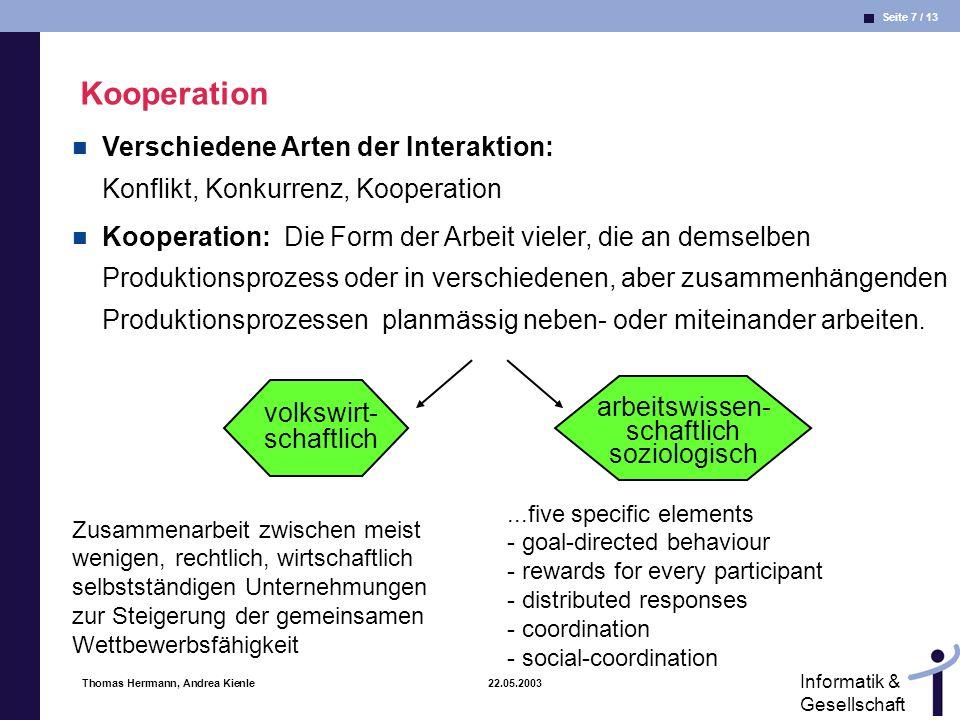 Seite 7 / 13 Informatik & Gesellschaft Thomas Herrmann, Andrea Kienle 22.05.2003 Kooperation arbeitswissen- schaftlich soziologisch...five specific el