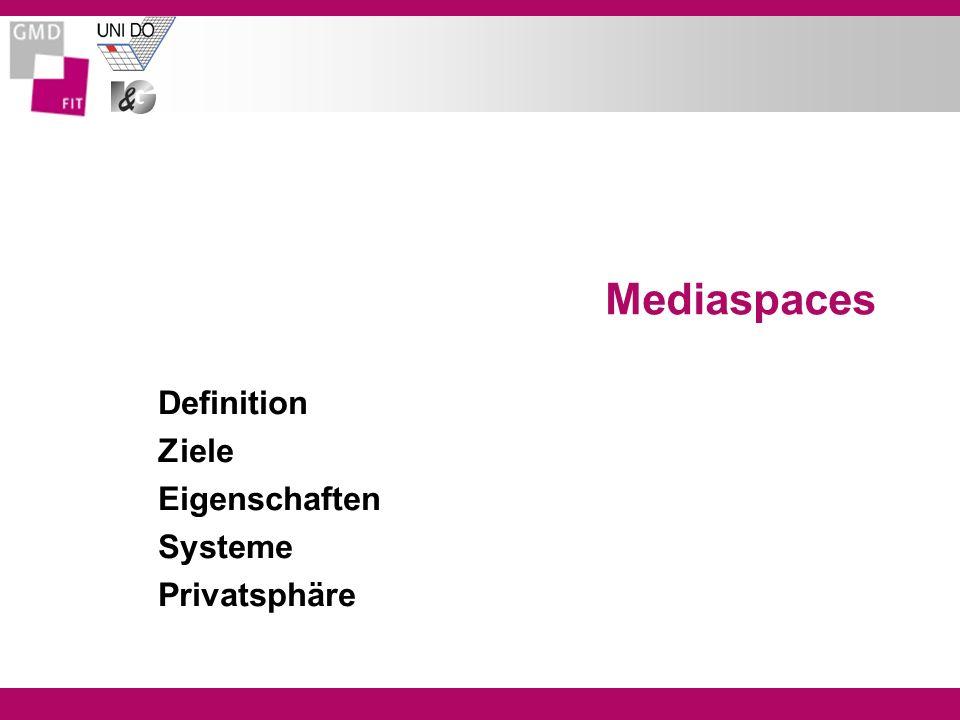 Mediaspaces Definition Ziele Eigenschaften Systeme Privatsphäre