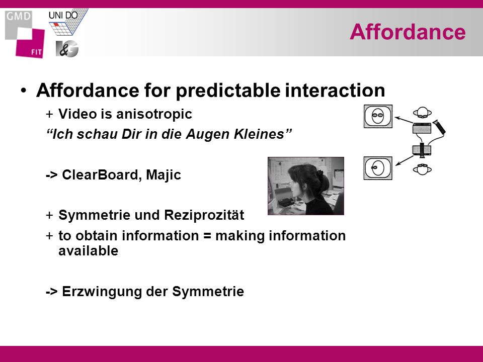 Affordance Affordance for predictable interaction +Video is anisotropic Ich schau Dir in die Augen Kleines -> ClearBoard, Majic +Symmetrie und Rezipro