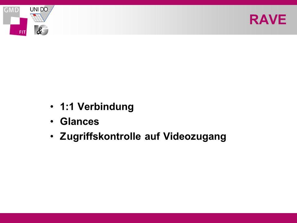 RAVE 1:1 Verbindung Glances Zugriffskontrolle auf Videozugang