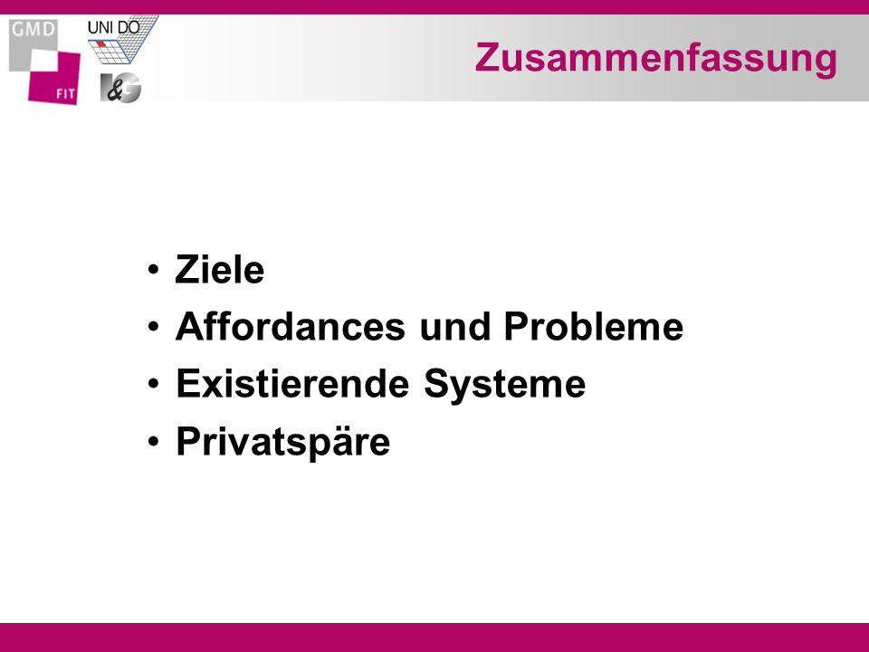 Zusammenfassung Ziele Affordances und Probleme Existierende Systeme Privatspäre