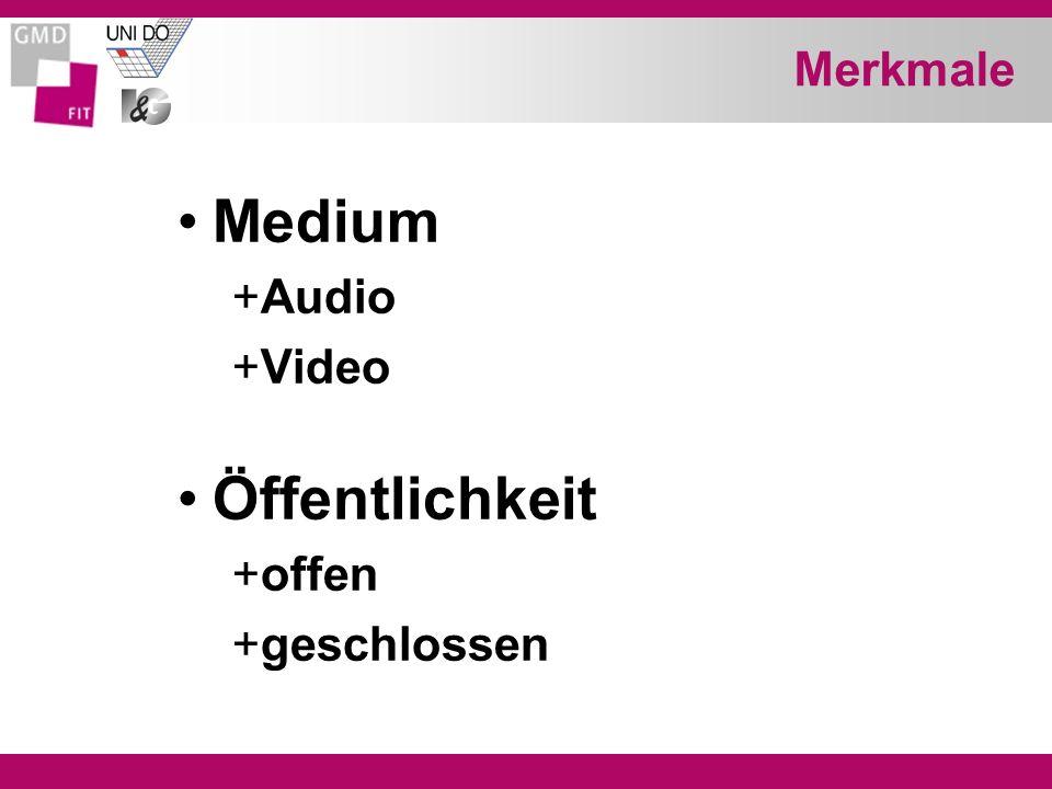Merkmale Medium +Audio +Video Öffentlichkeit +offen +geschlossen