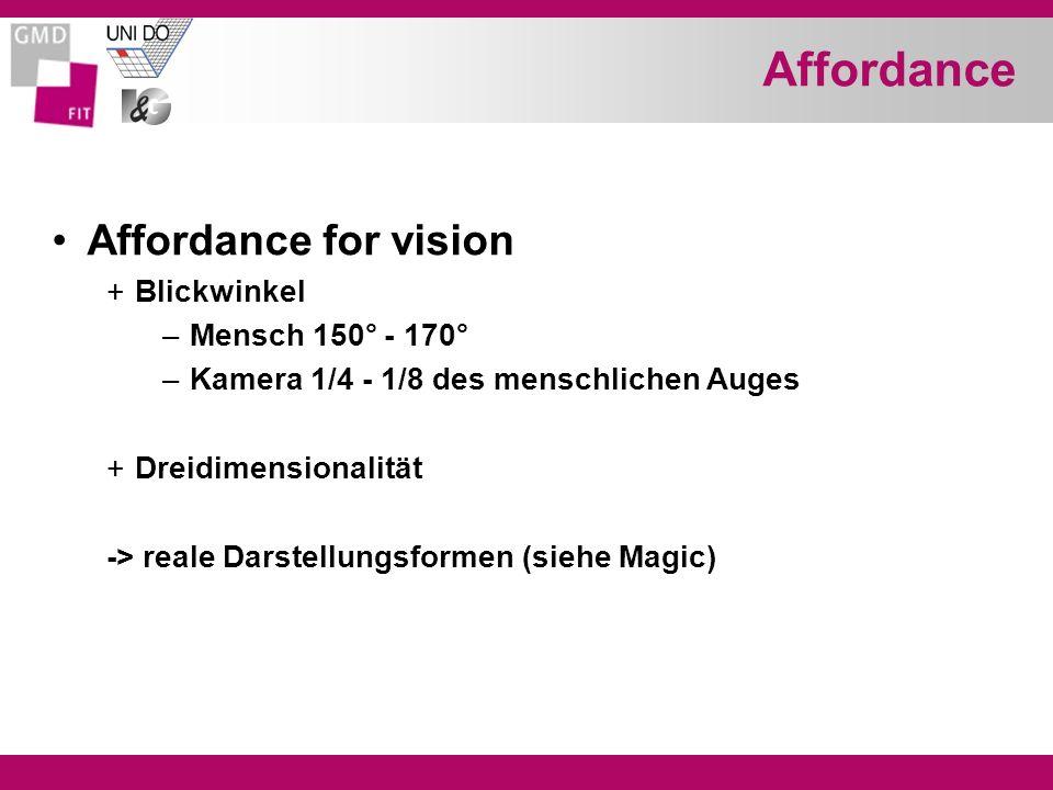 Affordance Affordance for vision +Blickwinkel –Mensch 150° - 170° –Kamera 1/4 - 1/8 des menschlichen Auges +Dreidimensionalität -> reale Darstellungsformen (siehe Magic)