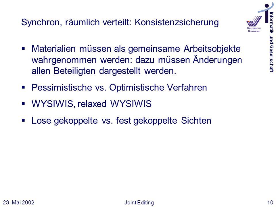Informatik und Gesellschaft 23. Mai 2002Joint Editing10 Synchron, räumlich verteilt: Konsistenzsicherung Materialien müssen als gemeinsame Arbeitsobje