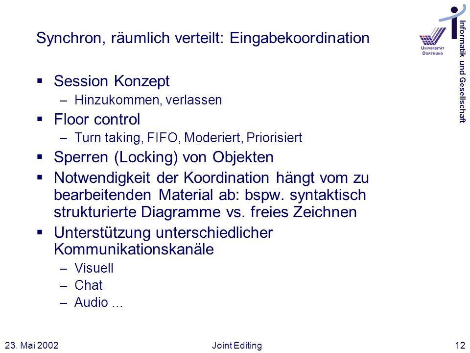 Informatik und Gesellschaft 23. Mai 2002Joint Editing12 Synchron, räumlich verteilt: Eingabekoordination Session Konzept –Hinzukommen, verlassen Floor