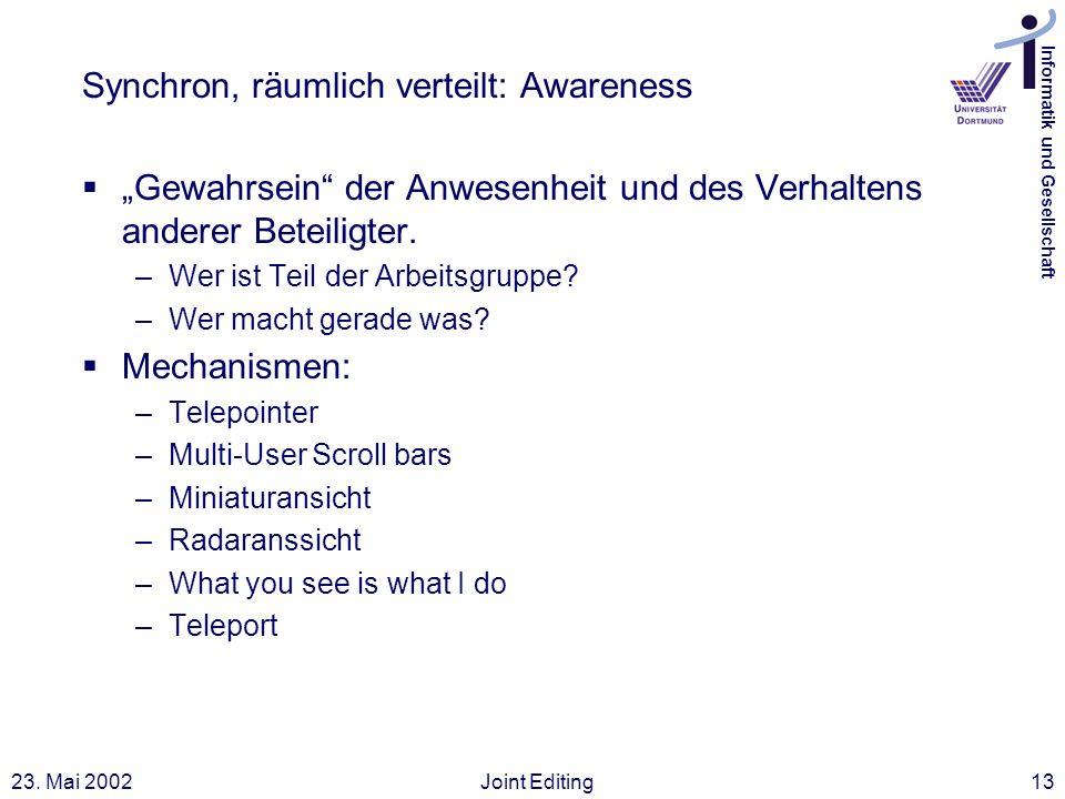 Informatik und Gesellschaft 23. Mai 2002Joint Editing13 Synchron, räumlich verteilt: Awareness Gewahrsein der Anwesenheit und des Verhaltens anderer B