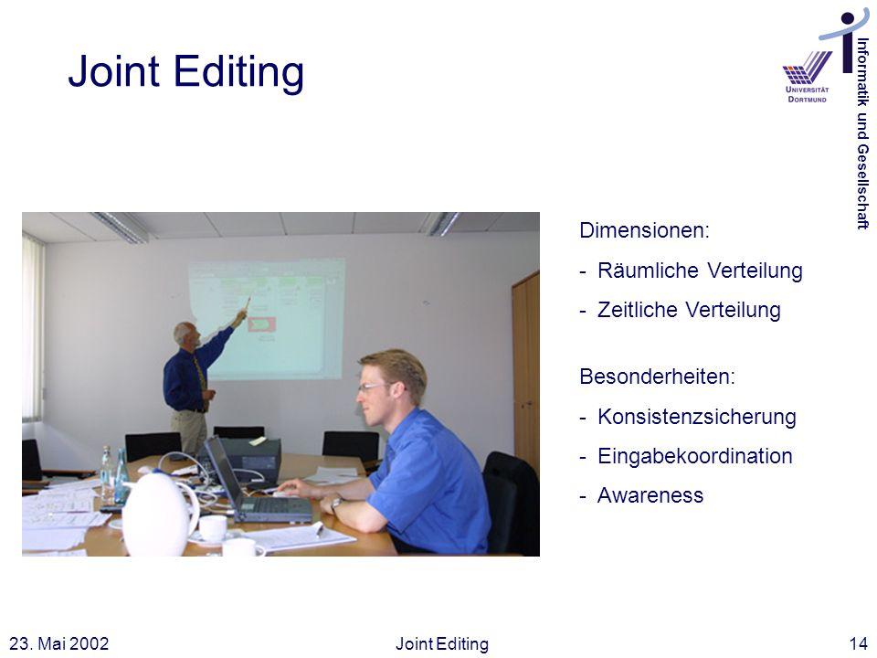 Informatik und Gesellschaft 23. Mai 2002Joint Editing14 Joint Editing Dimensionen: -Räumliche Verteilung -Zeitliche Verteilung Besonderheiten: -Konsis