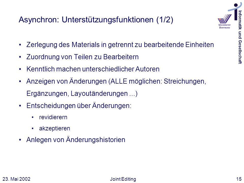Informatik und Gesellschaft 23. Mai 2002Joint Editing15 Asynchron: Unterstützungsfunktionen (1/2) Zerlegung des Materials in getrennt zu bearbeitende