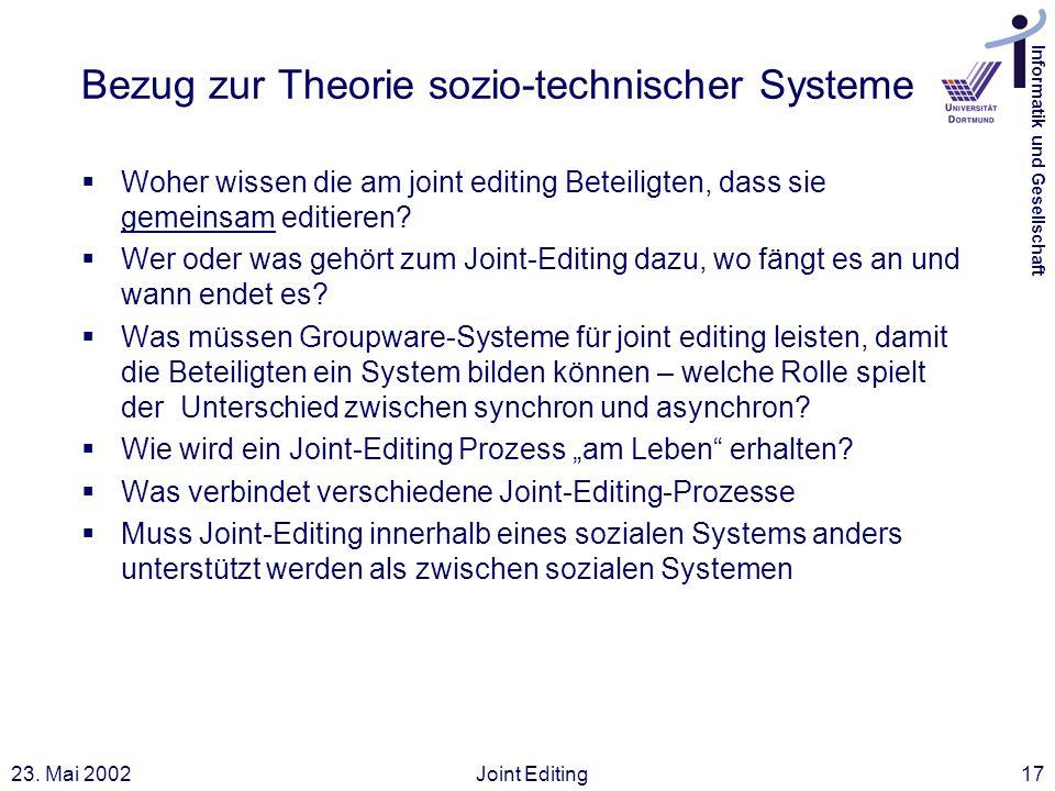 Informatik und Gesellschaft 23. Mai 2002Joint Editing17 Bezug zur Theorie sozio-technischer Systeme Woher wissen die am joint editing Beteiligten, das