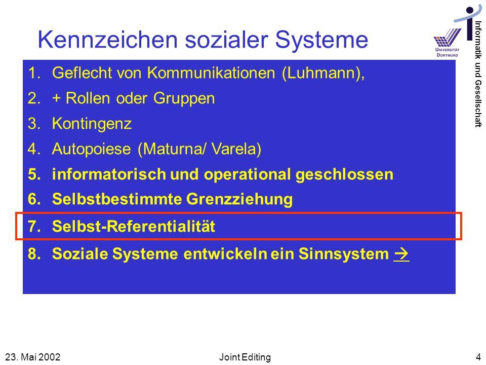 Informatik und Gesellschaft 23. Mai 2002Joint Editing4 Kennzeichen sozialer Systeme 1.Geflecht von Kommunikationen (Luhmann), 2.+ Rollen oder Gruppen