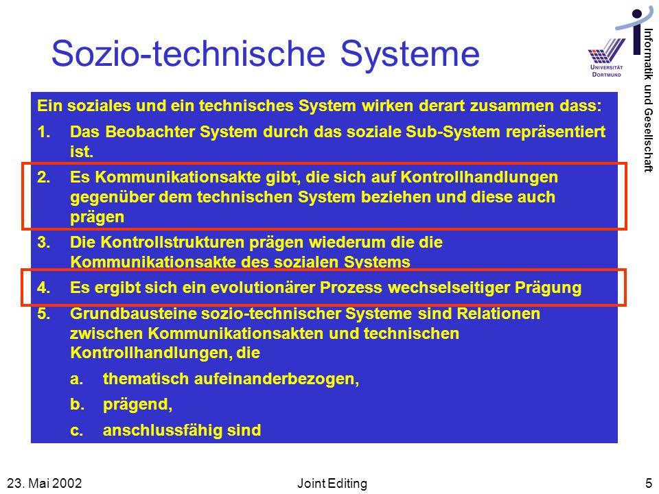 Informatik und Gesellschaft 23. Mai 2002Joint Editing5 Sozio-technische Systeme Ein soziales und ein technisches System wirken derart zusammen dass: 1