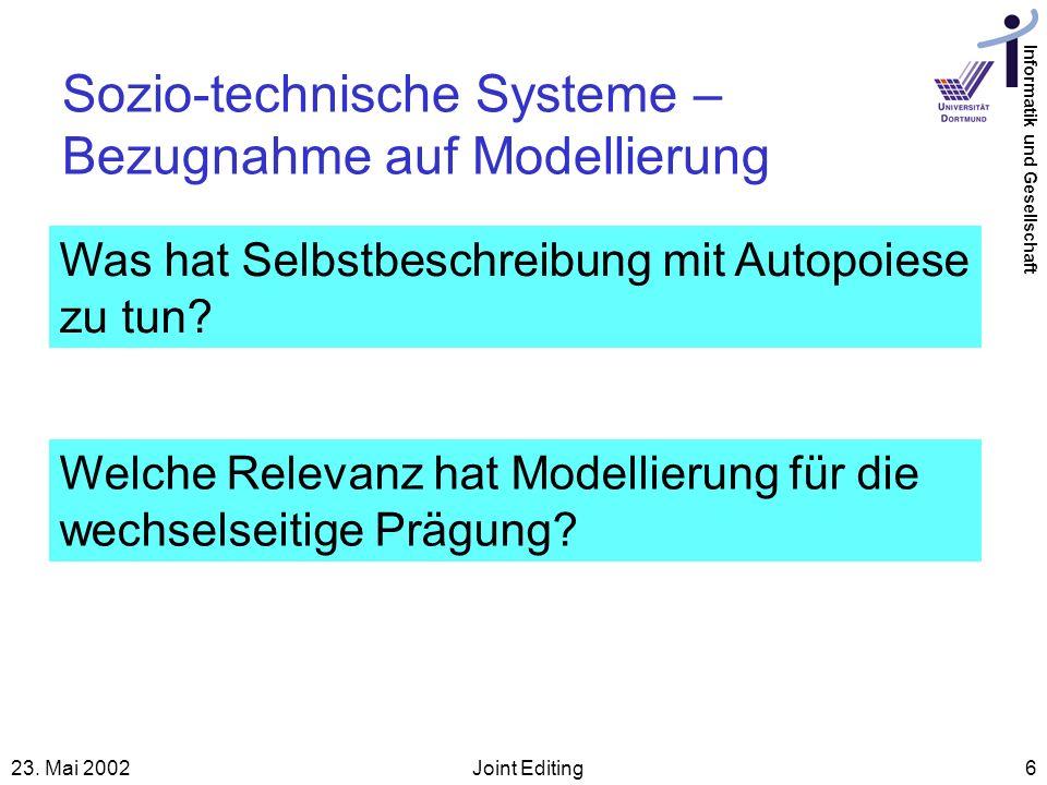 Informatik und Gesellschaft 23. Mai 2002Joint Editing6 Sozio-technische Systeme – Bezugnahme auf Modellierung Was hat Selbstbeschreibung mit Autopoies