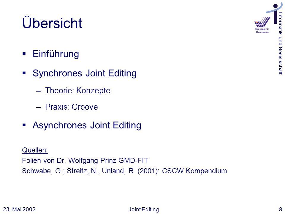 Informatik und Gesellschaft 23. Mai 2002Joint Editing8 Übersicht Einführung Synchrones Joint Editing –Theorie: Konzepte –Praxis: Groove Asynchrones Jo