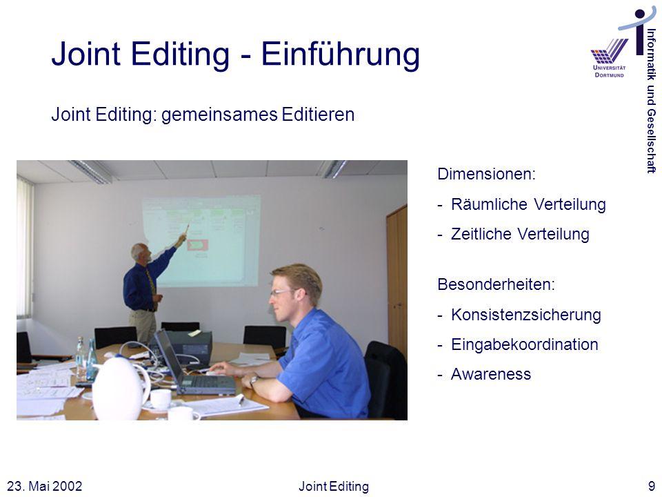 Informatik und Gesellschaft 23. Mai 2002Joint Editing9 Joint Editing - Einführung Joint Editing: gemeinsames Editieren Dimensionen: -Räumliche Verteil