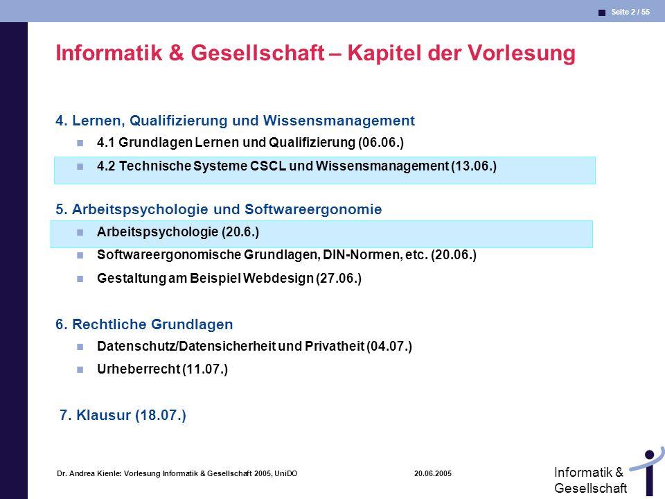 Seite 2 / 55 Informatik & Gesellschaft Dr. Andrea Kienle: Vorlesung Informatik & Gesellschaft 2005, UniDO 20.06.2005 Informatik & Gesellschaft – Kapit