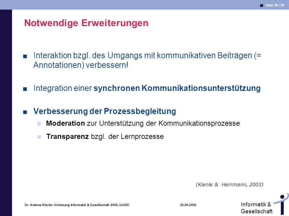 Seite 20 / 55 Informatik & Gesellschaft Dr. Andrea Kienle: Vorlesung Informatik & Gesellschaft 2005, UniDO 20.06.2005 Notwendige Erweiterungen Interak