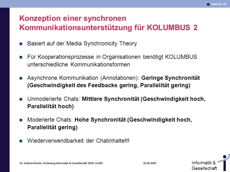 Seite 22 / 55 Informatik & Gesellschaft Dr. Andrea Kienle: Vorlesung Informatik & Gesellschaft 2005, UniDO 20.06.2005 Konzeption einer synchronen Komm
