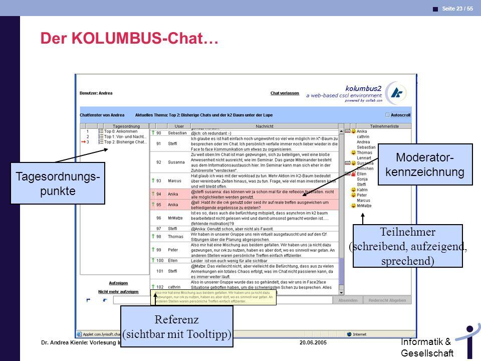 Seite 23 / 55 Informatik & Gesellschaft Dr. Andrea Kienle: Vorlesung Informatik & Gesellschaft 2005, UniDO 20.06.2005 Der KOLUMBUS-Chat… Tagesordnungs