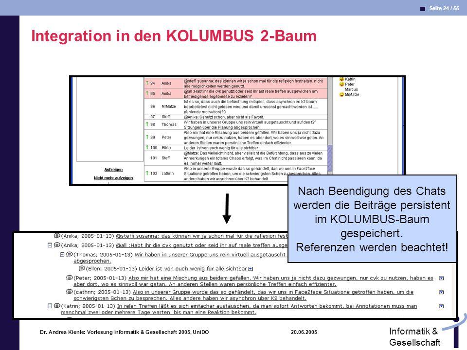 Seite 24 / 55 Informatik & Gesellschaft Dr. Andrea Kienle: Vorlesung Informatik & Gesellschaft 2005, UniDO 20.06.2005 Integration in den KOLUMBUS 2-Ba