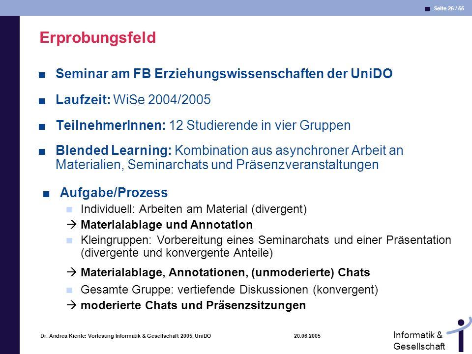 Seite 26 / 55 Informatik & Gesellschaft Dr. Andrea Kienle: Vorlesung Informatik & Gesellschaft 2005, UniDO 20.06.2005 Erprobungsfeld Seminar am FB Erz