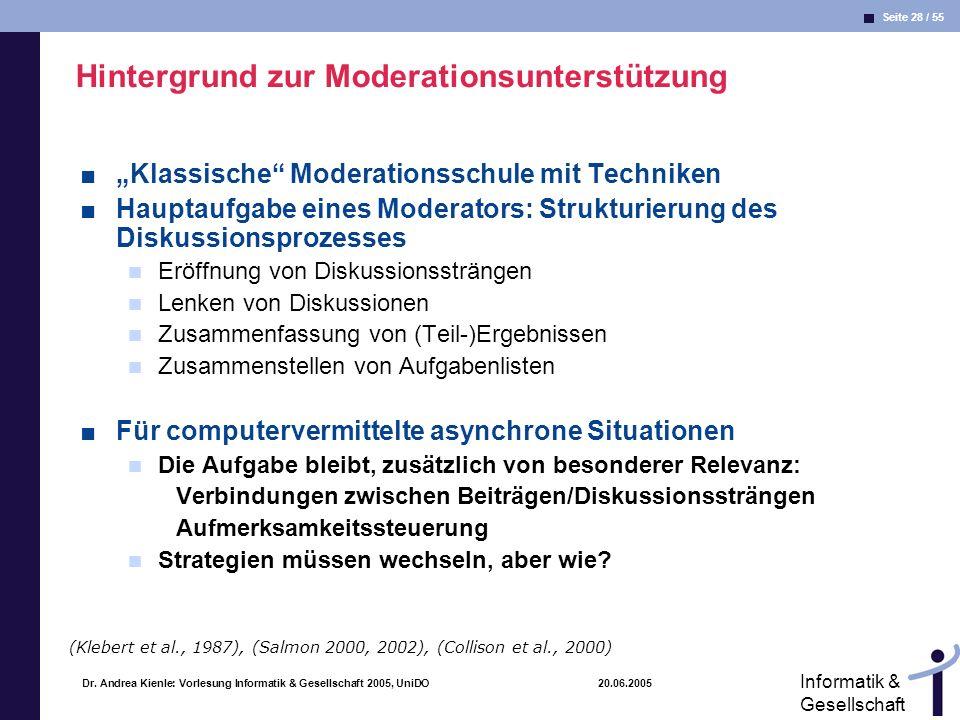 Seite 28 / 55 Informatik & Gesellschaft Dr. Andrea Kienle: Vorlesung Informatik & Gesellschaft 2005, UniDO 20.06.2005 Hintergrund zur Moderationsunter