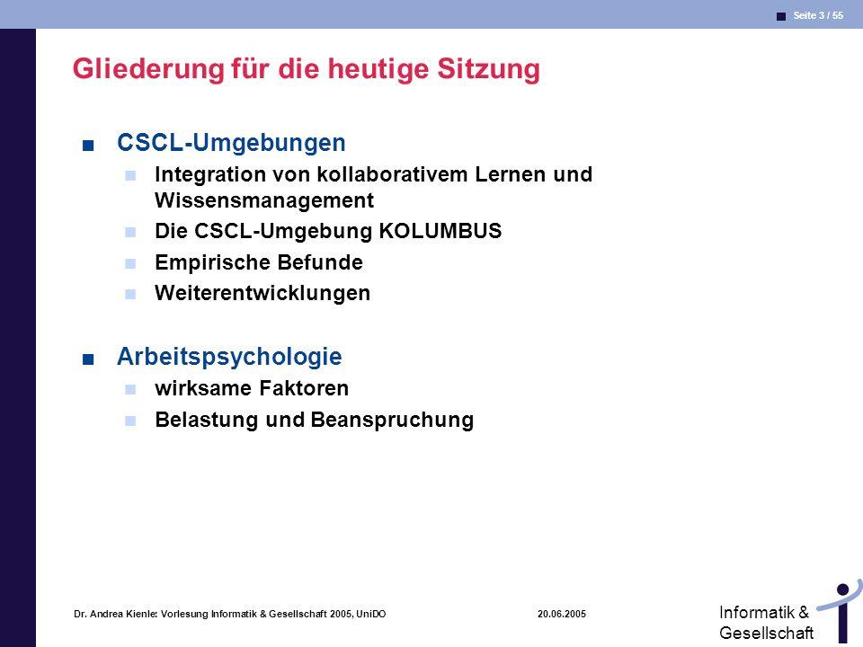 Seite 3 / 55 Informatik & Gesellschaft Dr. Andrea Kienle: Vorlesung Informatik & Gesellschaft 2005, UniDO 20.06.2005 Gliederung für die heutige Sitzun