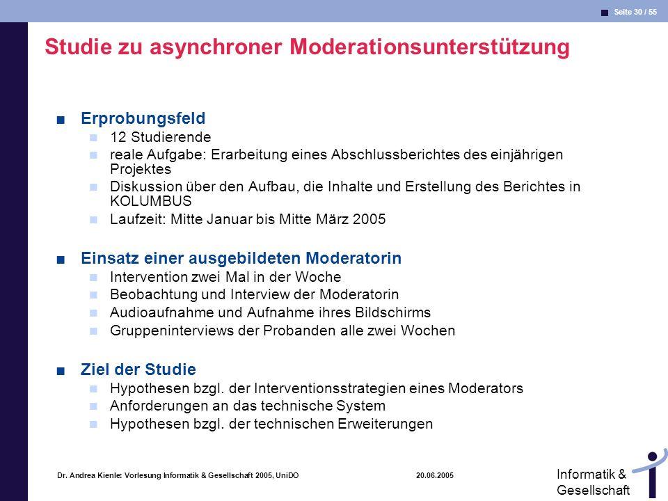 Seite 30 / 55 Informatik & Gesellschaft Dr. Andrea Kienle: Vorlesung Informatik & Gesellschaft 2005, UniDO 20.06.2005 Studie zu asynchroner Moderation