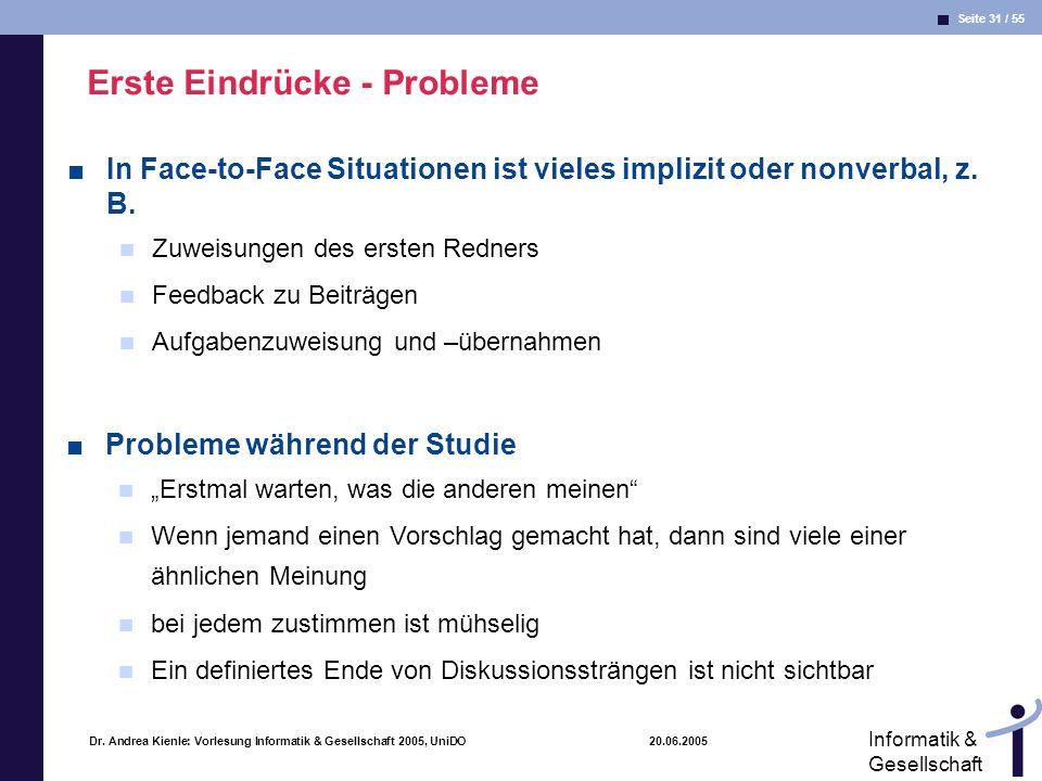 Seite 31 / 55 Informatik & Gesellschaft Dr. Andrea Kienle: Vorlesung Informatik & Gesellschaft 2005, UniDO 20.06.2005 Erste Eindrücke - Probleme In Fa