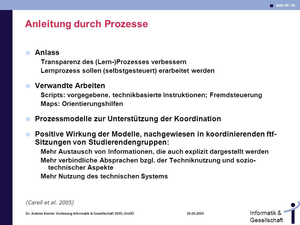 Seite 36 / 55 Informatik & Gesellschaft Dr. Andrea Kienle: Vorlesung Informatik & Gesellschaft 2005, UniDO 20.06.2005 Anleitung durch Prozesse Anlass