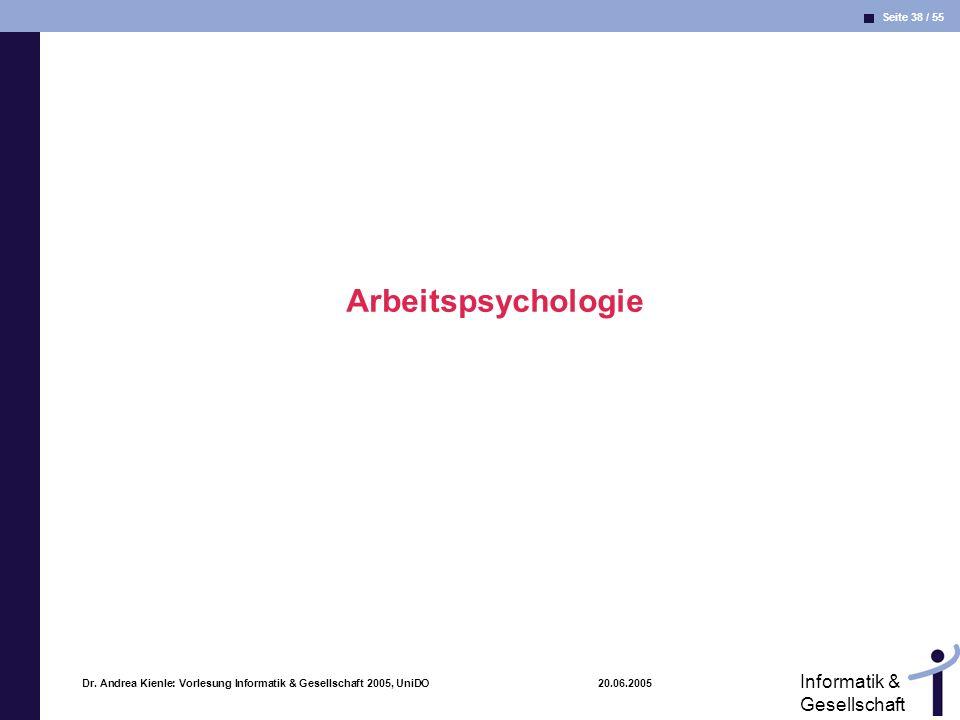 Seite 38 / 55 Informatik & Gesellschaft Dr. Andrea Kienle: Vorlesung Informatik & Gesellschaft 2005, UniDO 20.06.2005 Arbeitspsychologie