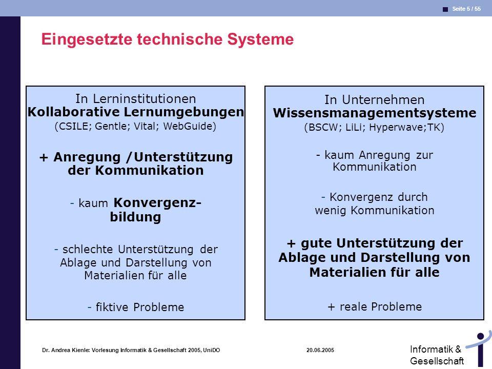 Seite 5 / 55 Informatik & Gesellschaft Dr. Andrea Kienle: Vorlesung Informatik & Gesellschaft 2005, UniDO 20.06.2005 Eingesetzte technische Systeme In
