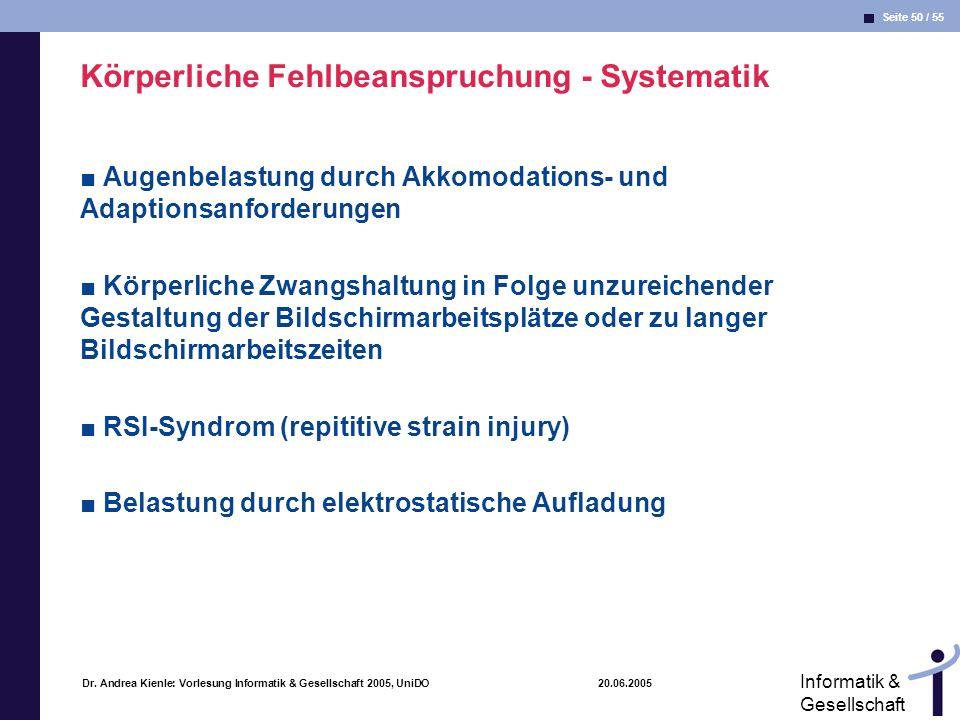 Seite 50 / 55 Informatik & Gesellschaft Dr. Andrea Kienle: Vorlesung Informatik & Gesellschaft 2005, UniDO 20.06.2005 Körperliche Fehlbeanspruchung -