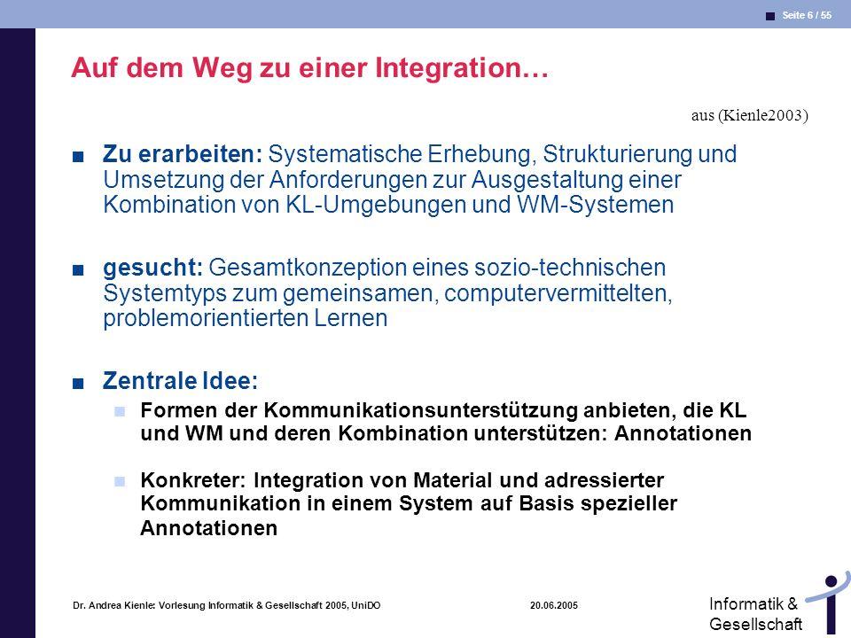 Seite 6 / 55 Informatik & Gesellschaft Dr. Andrea Kienle: Vorlesung Informatik & Gesellschaft 2005, UniDO 20.06.2005 Auf dem Weg zu einer Integration…