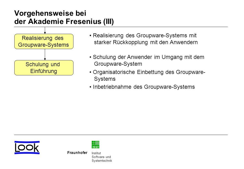 ISST Fraunhofer Institut Software- und Systemtechnik Vorgehensweise bei der Akademie Fresenius (III) Realisierung des Groupware-Systems mit starker Rückkopplung mit den Anwendern Schulung der Anwender im Umgang mit dem Groupware-System Organisatorische Einbettung des Groupware- Systems Inbetriebnahme des Groupware-Systems Schulung und Einführung Realisierung des Groupware-Systems