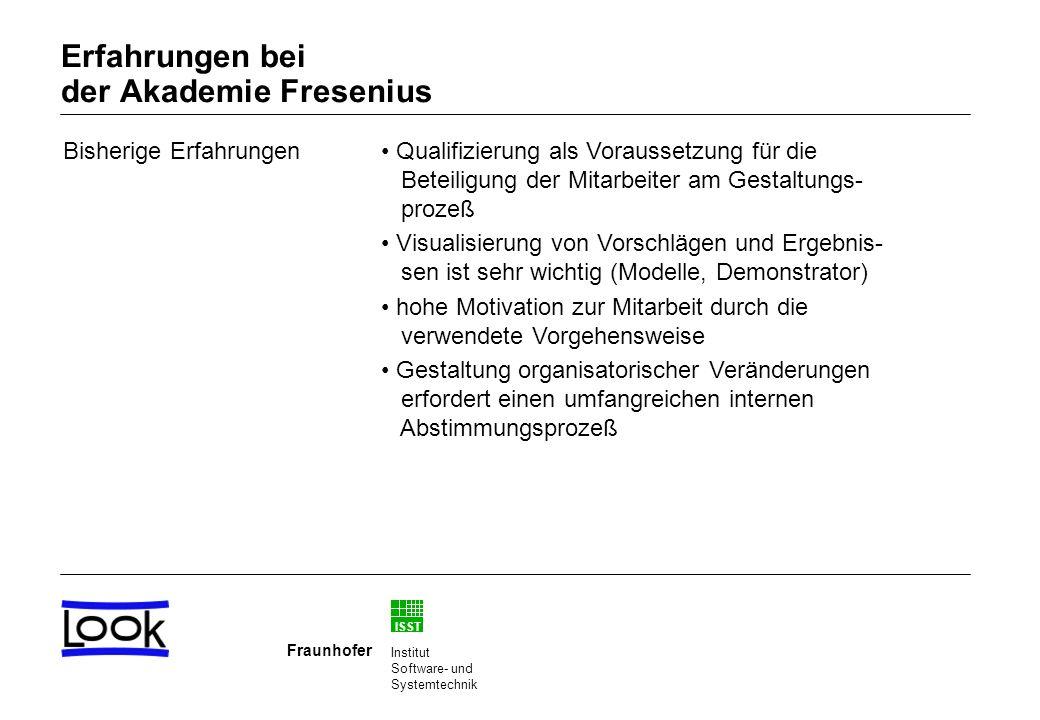 ISST Fraunhofer Institut Software- und Systemtechnik Bisherige Erfahrungen Qualifizierung als Voraussetzung für die Beteiligung der Mitarbeiter am Gestaltungs- prozeß Visualisierung von Vorschlägen und Ergebnis- sen ist sehr wichtig (Modelle, Demonstrator) hohe Motivation zur Mitarbeit durch die verwendete Vorgehensweise Gestaltung organisatorischer Veränderungen erfordert einen umfangreichen internen Abstimmungsprozeß Erfahrungen bei der Akademie Fresenius
