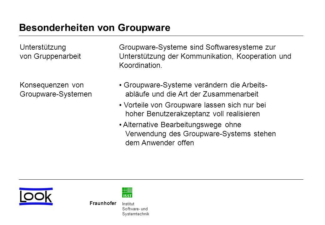 ISST Fraunhofer Institut Software- und Systemtechnik Besonderheiten von Groupware Unterstützung von Gruppenarbeit Konsequenzen von Groupware-Systemen Groupware-Systeme sind Softwaresysteme zur Unterstützung der Kommunikation, Kooperation und Koordination.