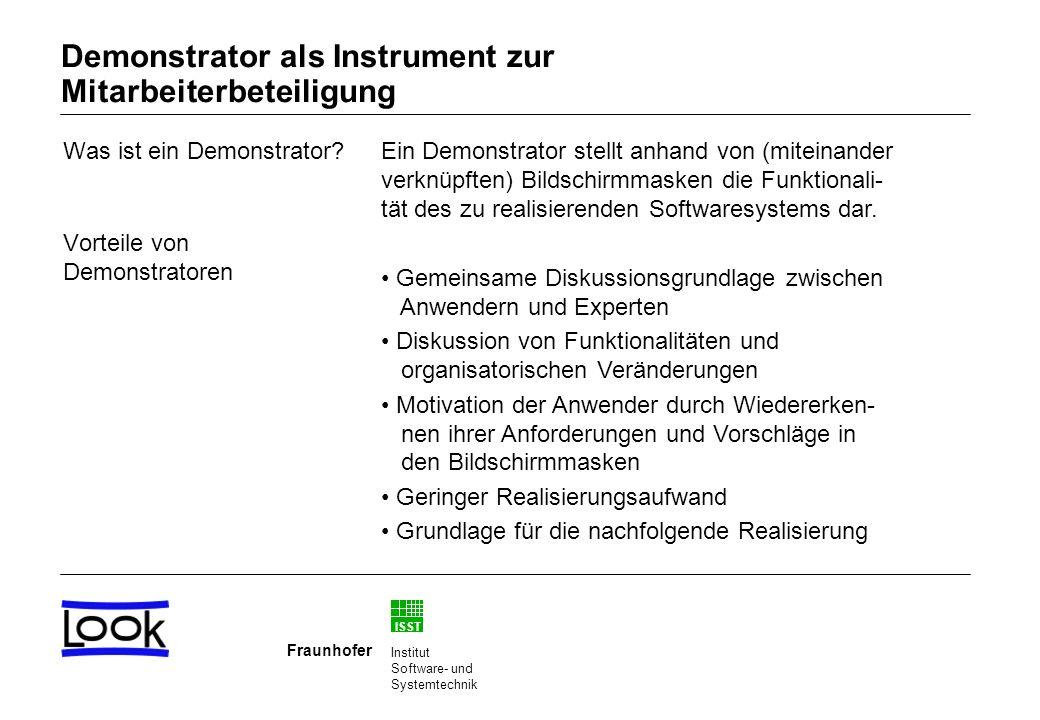ISST Fraunhofer Institut Software- und Systemtechnik Was ist ein Demonstrator.