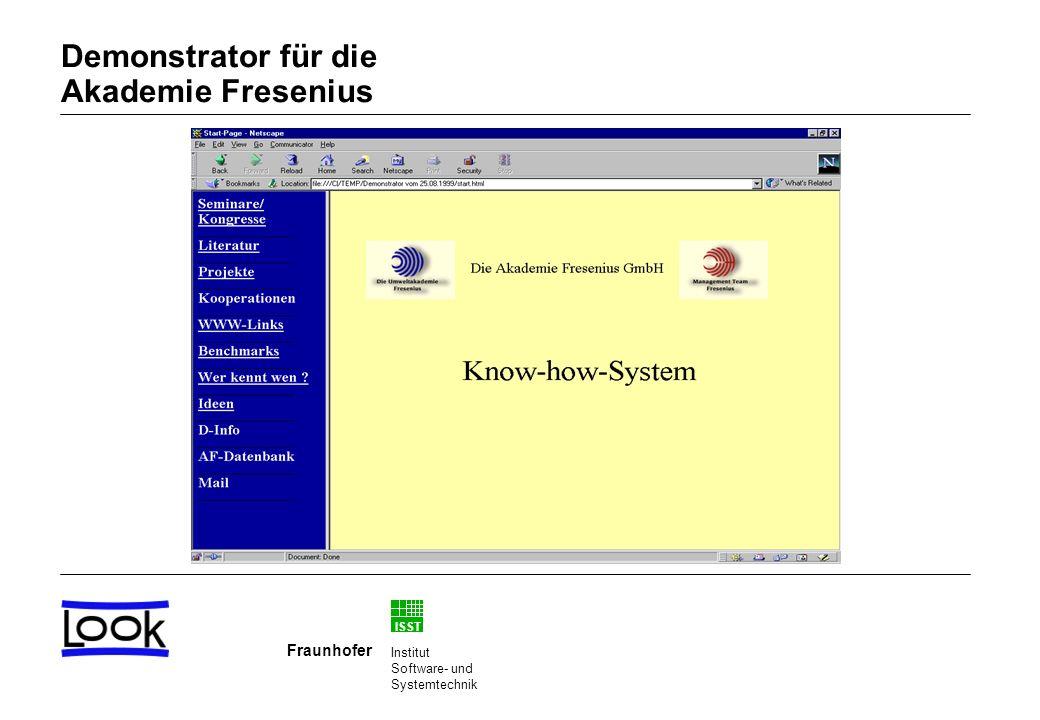 ISST Fraunhofer Institut Software- und Systemtechnik Demonstrator für die Akademie Fresenius